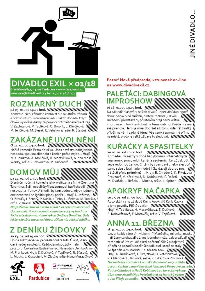 Program Divadlo EXIL 01/2018